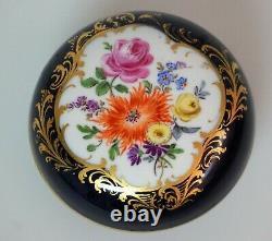 Meissen Porcelaine Cobalt Bleu & Or Peint À La Main Boîte À Babiole Florale W /lid