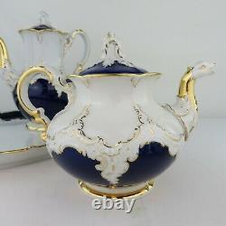 Meissen Porcelaine Cobalt Blue & Gold 5 Piece Tea Set Tray Cream Sugar Antique