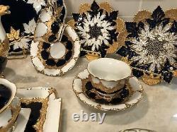 Meissen Porcelaine Cobalt Blue & Gold Gilding Maple Leaf Plaques Rare C. 1860-1924