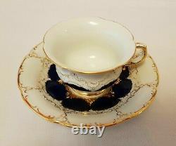 Meissen Porcelaine Cobalt Blue & Gold Incrusted Demitasse Cup & Soucoupe Set