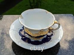 Meissen Porcelaine Cobalt Blue & Gold Prunk Pattern Demitasse Cup & Soucoupe Set