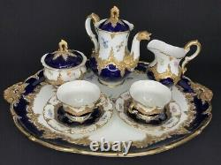 Meissen Porcelaine Or Cobalt Bleu Cafe Set Antique