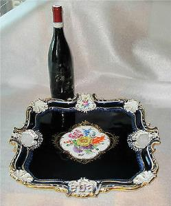 Meissen Porcelaine Tray Cobalt - Or Rococo Embossed Relief Peint À La Main