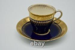 Minton Cobalt Blue Gold Incrusted Demitasse Cup & Saucer H1111