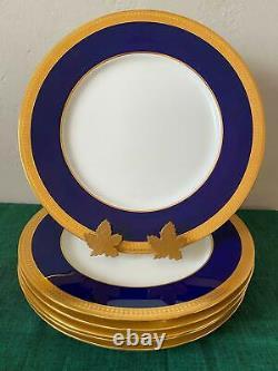 Minton Cobalt Blue & Gold #g6262 Large Service Plates Set 6 Livraison Gratuite