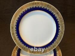 Minton G3950 Assiettes À Salade Ensemble De 7 Or Incrusté Cobalt Blue 9 Dia