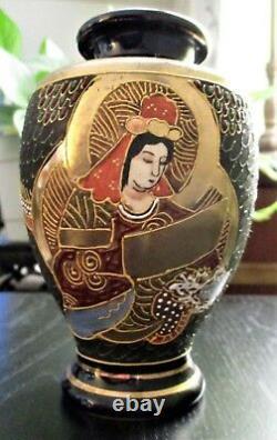 Moriage Satsuma Japan Gold Gilt Vase Avec Bleu-main Peint Dragonware