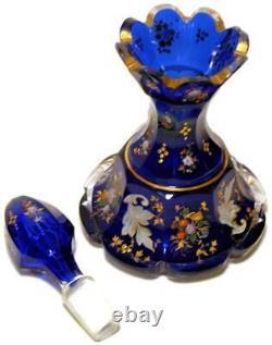 Moser Cobalt Blue Facetted Glass Parfum Bouteille Partout En Or - Émail Floral