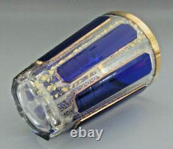Moser Cobalt Blue Tumbler Bohemian Cabochon Panel Glass 1910 Ère