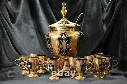 Moser Punch Bowl Set Or Décoré Cobalt Blue Glass1880s Rare