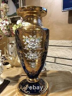 Murano Big Venetian Vase 22k Gold Enamel Flowers Cobalt Blue 16 Pouces