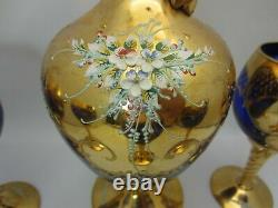 Murano Venise Italie Blue Glass Decanter Set 5 Verres À Vin 24kt Feuille D'or