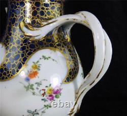 N847 Antique 18th Century Meissen Porcelaine Cafetière Cobalt Bleu - Or