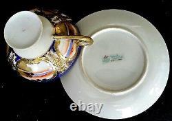 Nippon Antique Hand Painted Cobalt Blue Gold Tea Set 17 Pieces Blue Mark Japon
