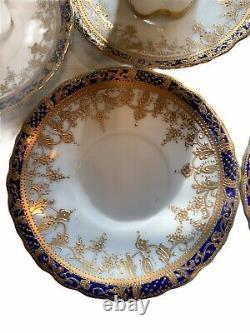 Nippon Peint À La Main Cobalt Blue/gold Foil 13 Pc Chocolat/tea Set 6 Tasses/5 Saucer