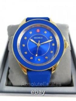 Nouveau Michele Cape Cobalt Blue Gold Topaz Ladies Watch Mww27a000026 Nib + Box