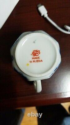 Nouvel Authentique Russe Lomonosov Blue Field 23pc Tea Coffee Set Pour 6 Cobalt Gold