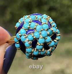 Or Jaune 18 Carats Turquoise Cabochon Cobalt Blue Waves Émail Bague Domed Bombe