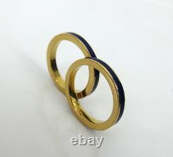 Paire De Bracelets Vintage En Émail Bleu Cobalt Et Or Jaune 18k Taille 5.5