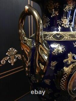 Paire De Palais Limoges Imperial Italy Porcelaine 22kt Vases Bleu Or & Cobalt