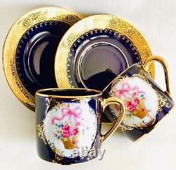 Paire De Rare Limoges Castel 24ct Gold Gilded Cobalt Blue Demitasse Cups - Soucoupe