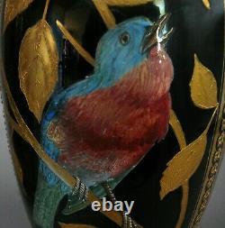 Paire De Vases, Porcelaine, 12.5, Coalport, Angleterre Bleu Cobalt, Doré, Oiseaux. 1881
