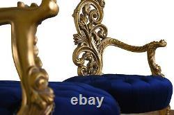 Paire De Vintage, Feuille D'or, Velours Bleu Cobalt Touffu, Sculpté À La Main, Fauteuil