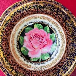 Paragon Gold Gilding Cobalt Blueteacup & Saucer Floating Rose Chabage Rose