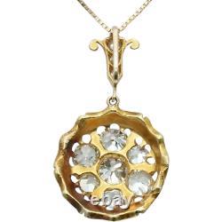 Pendentif Antique Victorien De Diamant De Vieille Mine Coupée Dans L'émail Bleu Cobalt D'or De 18k