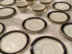 Pickard Fine China 3 Pc Place Setting Washington Ivoire Cobalt Blue 24k Gold Set