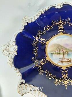 Plaque D'affichage Bleu Cobalt & Gilded Coalport