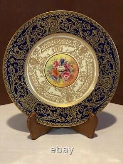 Plaque D'or Bleu Cobalt Signée À La Main De Worcester Royal