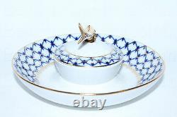 Plat Impérial Russe De Porcelaine De Lomonosov Pour Le Caviar / Ikornitsa Cobalt Net Gold