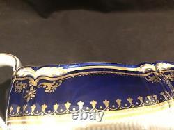 Poêle Lancaster Cobalt Sauce Gravy Bateau Et Sous-plaque Plateau Bleu Or Incrusté