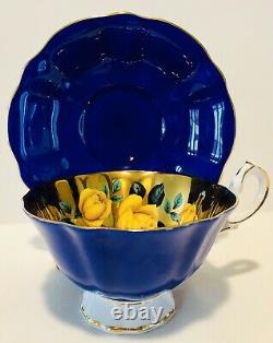 Queen Anne England Cobalt Floating Cabbage Roses Gold Teacup & Saucer Wide Bouche