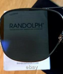 Randolph Engineering White Gold Aviator Polarisized Cobalt Lenses Lunettes De Soleil 58mm