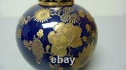 Rare 19ème C. Royal Crown Derby Porcelain Potpourri Jar, Cobalt & Gold Decoration