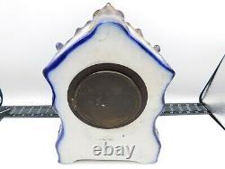 Rare Antique N ° 96 Waterbury Porcelaine Cobalt Blue & Gold Mantel Clock Repair