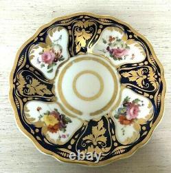 Rare Antique Ridgway Cup And Saucer Cobalt Blue Gold Floral C1825 Motif 2/1043