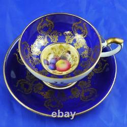 Rare Aynsley Fruit Orchard Cobalt Blue & Gold Gilt Cabinet Pedestal Cup & Saucer