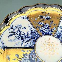 Rare Ensemble De 4 Coalport Pour Theodore B. Starr Cobalt - Plaques D'armoire D'or