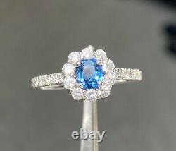 Rare! Gia Cert 1.5 Ct Cobalt Spinel Luc Yen & D Vs1 Diamond Ring 14k Or Blanc