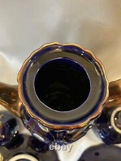 Rare Midcent Ensemble De Thé De Porcelaine D'or Bleu De Cobalt Profond Allemand & 22k