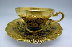 Rare Rosenthal Antique Cobalt Blue & Incrusted Gold Boxed Set Of Cups & Soucoupes