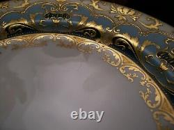 Rare Royal Doulton Burslem Raised Gold Incrusted Cobalt Teal Plate 10 1/4 Pouce