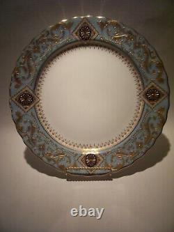 Rare Royal Doulton Burslem Raised Gold Incrusted Cobalt Turquoise Plate 10 Mint