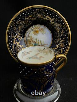 Rare Shelley Cobalt Blue Miniature Demitasse Cup & Soucoupe Or Oies Canards Volaille