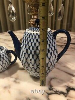 Rare Signé Imperial Russia Cobalt Blue Gold Tea Pot Sugar Bowl Set