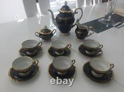 Rare Weimar Allemand Gilded Cobalt Katharina 20003 Demitasse Tea Set -flambant Neuf