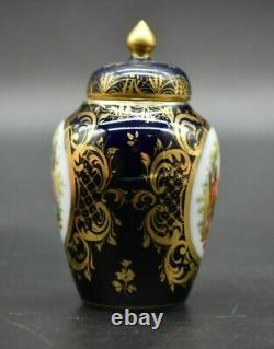 Richard Klemme Dresde Allemand Watteau Cobalt Bleu & Or 3 1/2 Urne Minature